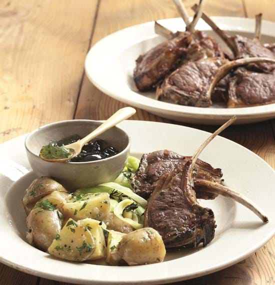 Minty Lamb Chops with Cheesy Sauté Potatoes